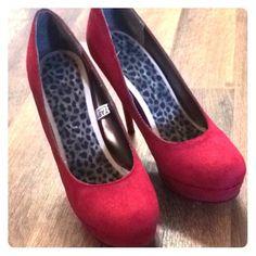 Suede heels Red sexy suede heels Mossimo Supply Co Shoes Heels