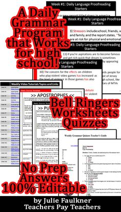 Bell ringers 240 daily warm ups with answer slides common core daily grammar program for high school with bell ringers worksheets quizzes fandeluxe Images