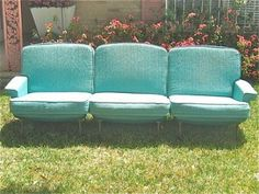 #Vintage sofa handmade with a fiberglass bubble back. So cool! Two of them in our Travis Heights #estatesale