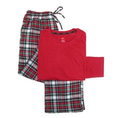 Hanes Mens Big & Tall Cotton Long Sleeve Shirt and Flannel Pajama Pants. Solid shirt and plaid pants