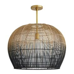 Makers utilize old world techniques to create the luxurious and modern Swami Small Pendant from Arteriors Home. Made with hundreds of thin Buri sticks, derived from a palm in the Asian tropics, the Luxury Chandelier, Chandeliers, Dining Chandelier, Modern Chandelier, Brass Pipe, Black Ombre, Color Black, High Fashion Home, One Light