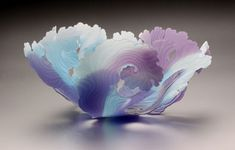 Janet Kelman / PRISM contemporary-Soft Aqua and Violet Seafan Blown Sand Carved and Slumped glass x x Fused Glass Bowl, Slumped Glass, Glass Paperweights, Glass Vase, Glass Bowls, Art Of Glass, Stained Glass Art, Glass Ceramic, Resin Art
