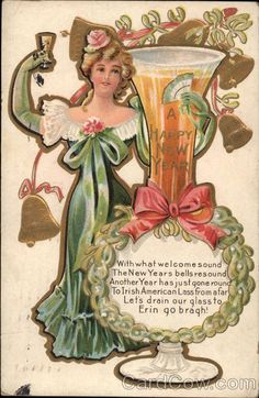 A Happy New Year New Year Toast Series 1 With what welcome sound The New Years bells resound Another Year has just gone round To Irish American Lass from afar Let's drain our glass to Erin go bragh! Christmas Books, Vintage Christmas Cards, Vintage Holiday, Victorian Christmas, Arabian Nights, Holiday Postcards, Vintage Postcards, Holly Images, New Year Printables