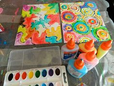 the vintage umbrella: painting with watercolors and Elmer's glue = community pride posters