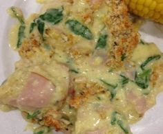 Chicken with Spinach, Ham and Pinenuts