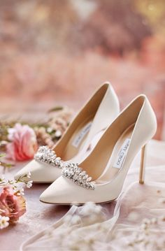 Jimmy Choo - Browse the complete bridal collection Fancy Shoes, Cute Shoes, Bridal Sandals, Cinderella Shoes, Shoe Clips, Wedding Heels, Bride Shoes, Jimmy Choo Shoes, Luxury Shoes