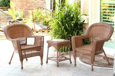Honey Brown Resin Wicker Patio Chairs and End Table Furniture Set Wicker Patio Chairs, Wicker Lounge Chair, White Dining Chairs, Garden Chairs, Pink Chairs, Bag Chairs, Room Chairs, Table Furniture, Living Room Furniture