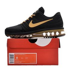 b6443362f9d0a Nike Air Max 2017 Men Black Gold Logo Running Shoes Running Shoes For Men
