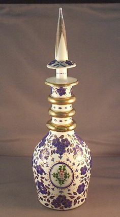 ANTIQUE BOHEMIAN milk glass DECANTER BOTTLE made for the PERSIAN ISLAMIC MARKET