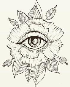 Flower Eye Tattoo Line Art Flash Art Leaves Leaf Geometric . - Tattoos of Hannah Tattoo Sketches, Tattoo Drawings, Drawing Sketches, Art Drawings, Tattoo Ink, Drawing Art, Trippy Drawings, Small Drawings, Lion Tattoo