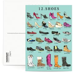 Tipos de zapatos. - Fashionary X Vita Yang Postcard Book | Fashionary