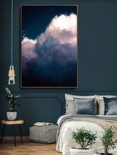 bedroom ideas modern CLOUD PAINTING, LARGE Wall Art, Abstract Art, Large Abstract Painting, Blue and White Cloudscape Art Wolke Malerei Extra große Wandkunst abstrakte Kunst große Beautiful Bedroom Designs, Beautiful Bedrooms, Beautiful Wall, Grand Art Mural, Minimalist Painting, Extra Large Wall Art, Art Abstrait, Bedroom Colors, Bedroom Ideas