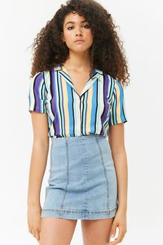Product Name:Paneled Denim Mini Skirt, Category:bottom_jeans, Price:19.9