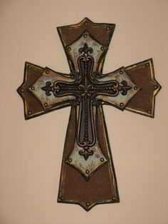 blue and brown cross