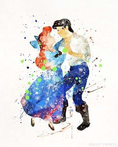 Ariel and Eric, Little Mermaid Disney Watercolor Wall Art Poster - Prices from $9.95 - Click Photo for Details - #disney #watercolor #babyroom #homedecor #nursery #Ariel #LittleMermaid