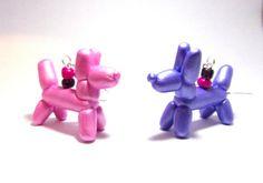 Balloon Animal Dog Polymer Clay Cute Earrings Handmade, Silver Tone Dangle Earrings Purple and Pink Glass Beads, Metallic Purple and Pink