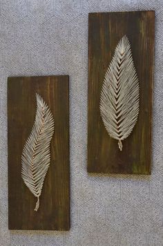 Set of 2 String Art / Feather / Nail / by TheCopperFeatherCo:
