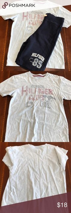 "Tommy Hilfiger Shorts and T-Shirt Set Tommy Hilfiger Shorts and T-Shirt Set in excellent condition! The T-Shirt is ""stonewashed"" 109% soft cotton. The shorts have a drawstring and are made of a cotton polyester blend! Tommy Hilfiger Matching Sets"