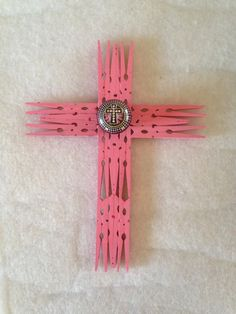 Handmade clothespin cross with knob and cross accent.  Upcycled_Diva