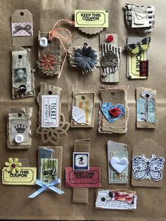 Handmade mini tags for junk journal pages. Made from scrap papers, cardboards, ribbons/laces and more! Scrapbook Journal, Journal Cards, Junk Journal, Handmade Journals, Handmade Books, Handmade Notebook, Handmade Crafts, Vintage Crafts, Vintage Paper