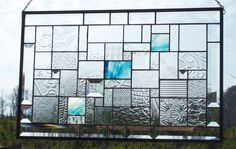 Touch of Blue Stained Glass Panel by SSGlassworks on Etsy, $160.00