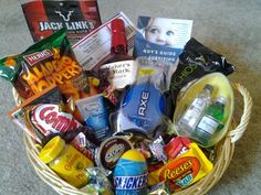 Easter basket for him man basket fishing easter basket manly easter basket 2012 whiskey junk food beef jerky dip daddy guy giftshusband negle Image collections