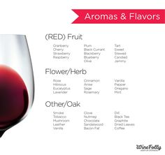 Red Wine Flavors and Aromas Infographic