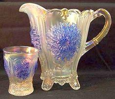 Fenton Blue Pitcher   Carnival Glass 101   home Quick Reference to Carnival Glass Patterns ... Fenton Glassware, Antique Glassware, Cut Glass, Glass Art, Antique Dishes, Glass Pitchers, Glass Dishes, Vintage Carnival, Glass Company