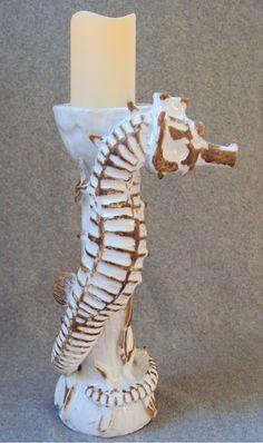 Seahorse Candlestick Ceramic Sculpture: Beach Decor, Coastal Home ...