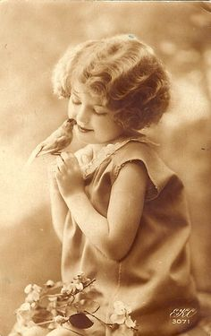 Vintage Postcard ~ Sweet Girl w/ Bird by chicks57, via Flickr
