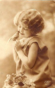 Vintage Postcard ~ Sweet Girl w/ Bird by chicks57, via Flickr