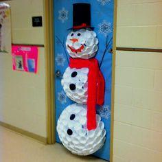 Preschool Classroom door decorations for the holidays. Preschool Classroom door decorations for the holidays. Kids Crafts, Snowman Door, Diy Snowman, Snowman Cup, Snowman From Cups, Snowman Wreath, Plastic Cup Snowman, School Doors, Door Displays