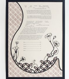 Eco-conscious Papercut Ketubah - Double Wedding Ring Garden - Jewish Wedding. $275.00, via Etsy.