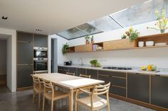 London Fields Kitchen, Study, Bathroom and Utility — Bespoke Plywood Furniture Plywood Kitchen, Plywood Cabinets, Plywood Furniture, Urban Furniture, Office Furniture, Open Plan Kitchen Living Room, Kitchen Dining, Kitchen Cabinets, Green Plywood