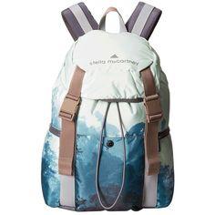 adidas by Stella McCartney Weekender Printed Backpack ($140) ❤ liked on Polyvore featuring bags, backpacks, weekend bag, polyester drawstring bag, top handle bags, drawstring bag and drawstring backpack bag