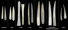 Bone folder types and varieties for book binding--or shapes for future projects