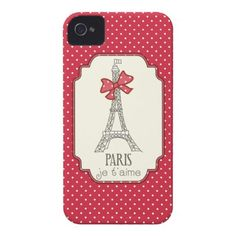 Red Polka Dots Paris Je taime iPhone 4 Covers