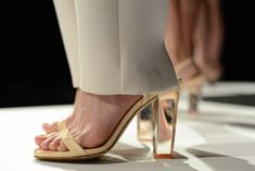 I love a glass heel. #Shoes from the Kaelen presentation. #NYFW (Photo: Casey Kelbaugh for The New York Times)