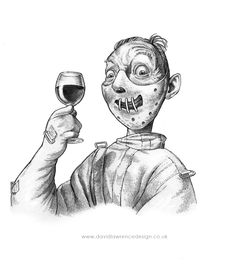 Drawn for Esquire Magazine's wine column - I think it was about the same sort of wine that Hannibal Lector drank....
