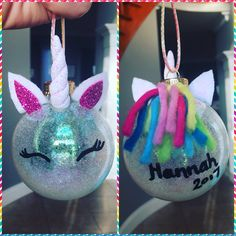 Glitter DIY Unicorn Christmas ornaments So Cute! Unicorn Christmas Ornament, Unicorn Ornaments, Disney Ornaments, Glitter Ornaments, Diy Christmas Ornaments, Christmas Decorations, Handmade Christmas Crafts, Christmas Projects, Holiday Crafts