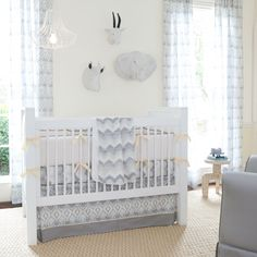Stella Ikat Crib Bedding is so cute, but no bumper pads for our little one!