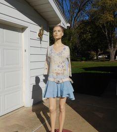 Boho Mini Dress Upcycled Clothes Hippie Style Fashion Hip Hugger Below the Waist Drop Recycled Size Large Hi Low Hem Ruffle Blue Denim Jeans by LandofBridget on Etsy