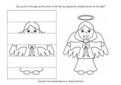 """Fill in the missing parts of the grid using the complete picture of a Christmas angel on the right. The children could have a go at this printable activity as part of a Nativity theme, together with our other Nativity """"complete the picture"""" printables. Christmas Puzzle, Christmas Angels, Picture Puzzles, Christmas Printables, Christmas Colors, Christmas Pictures, Fun, Kids, Birth"""