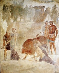 The punishment of Dirce. Fresco from Pompeii (House of the Grand Duke of Tuscany, VII, 4, 56). Third style. Ca. 30 A.D. Inv. 9042. Naples, National Archaeological Museum.