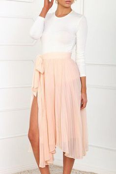 White Long Sleeve T-Shirt + Solid Color Skirt WHITE: Skirts | ZAFUL