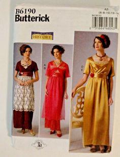 Butterick Costume Pattern 6190 Edwardian 1910s Women's Dress Sizes 6-14 UNCUT…