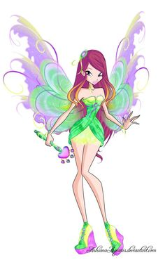 Here's Roxy, the Fairy of Animals from Winx Club in her Mythix transformation. Because of her powers, the wand of course had to be with an animal paw symbol. She really deserved to get a … Roxy, Winx Magic, Les Winx, Club Outfits For Women, Woman Outfits, Bloom Winx Club, Club Design, Going Out Outfits, Anime Outfits