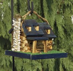 log cabin with stone chimney birdhouse.....