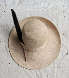 "vtg 70s wide brimmed straw hat with cattail ""feather"""
