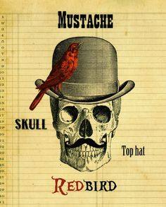 Vintage Skull and Top Hat Poster Cool Skull by TheSpottedBlackbird